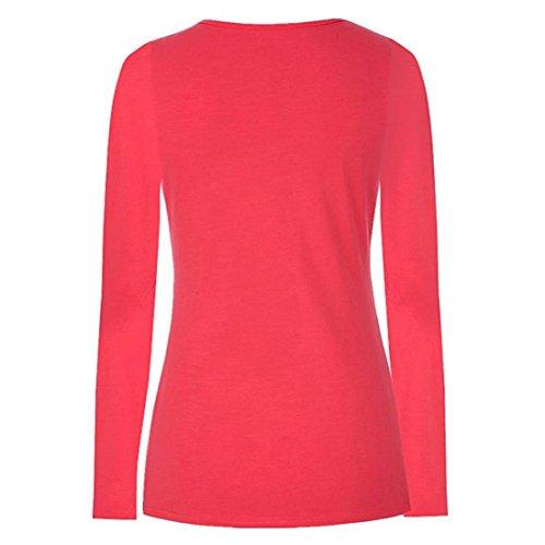 Top YUYOUG Allaitement Longues Mode Blouse Red Shirt Hauts Femmes T Manches maternit Double Couche Wrap xYBBw