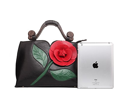 With Rose Tote Black Leather Flower Vanillachocolate Handle PU Handbag 3D Wooden Women For CxX0Zq56