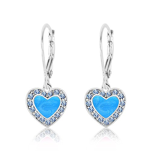 Kids Earrings - 925 Sterling Silver with a White Gold Tone Blue Enamel Heart with Surrounding Crystals Leverback Earrings MADE WITH SWAROVSKI ELEMENTS Kids, Children, Girls, Baby