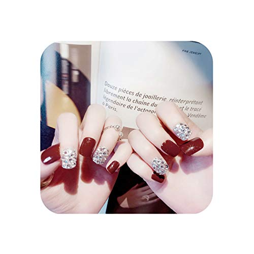 False Nails Squoval Fake Nails Diamond-Studded Short Size Diy Nail Art Bride Wear Wine Red Press On Nails With Glue Accessory 24 Pcs Tips,1 ()