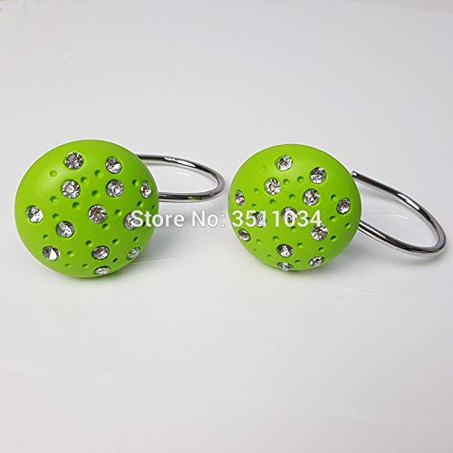 Green Color 4bag 48pcs Hemispherical drill, resin hook, spherical shower curtain hook, shiny lamp curtain hanger. curtain accessor