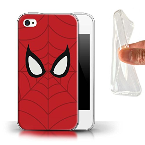 STUFF4 Gel TPU Phone Case/Cover for Apple iPhone 4/4S / Spider-Man Mask Inspired Design/Super Hero Comic Art Collection (Iphone 4 Super Case)