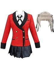 MrsJasmine Anime Cosplay Kostuum Jabami Yumeko Momobami kirari Yomoduki Runa Yumemite Yumemi Cosplay Uniform Kostuums Vrouwen Podium Party Meisje Geplooide Rok Halloween Cosplay