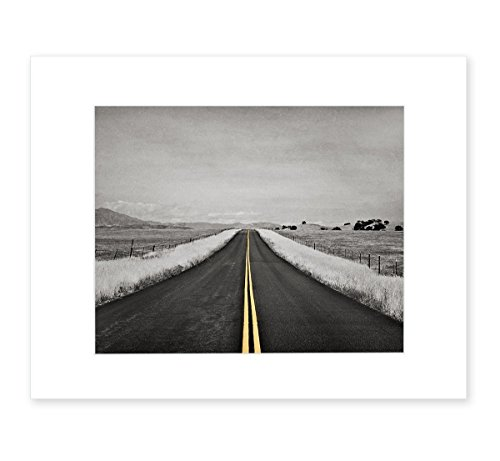 Abstract Black and White Open Road Photography with Yellow Color Accent, 8x10 Matted Photographic Print (fits 11x14 frame) 'Yellow Road Trip' by Offley Green