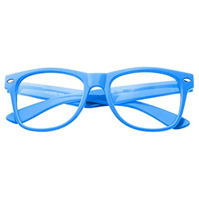Kids Size Color Glasses Clear Lens Nerd Geek Costume Fake Children's (Ages 3-10) (Blue): Clothing