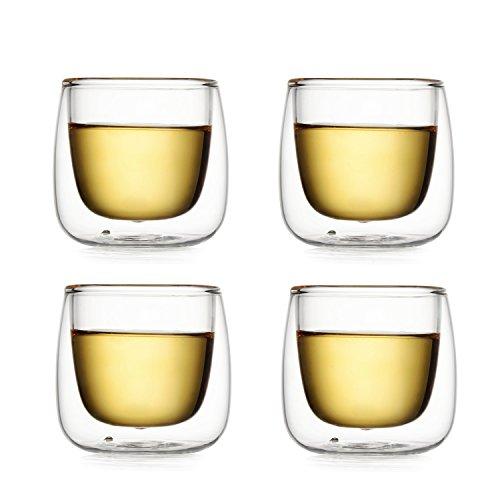 Dictea 100ml/3.5 fl.oz Double Layer Glass Tea/Espresso Cup Heat-resisting Teacup Set of 4
