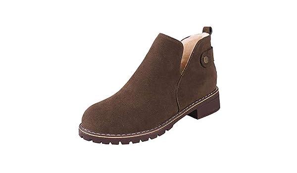 ❤ Botas de Felpa Vintage de Mujer, Zapatos de Punta Redonda de Invierno para Mujer Botines Planos de Gamuza de Cerrojo de Color sólido Boots Absolute: ...