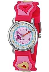 Zeiger First Time Teacher Young Little Girls Children Wrist Kids Watches, Cartoon Character 3D Heart Pink Band