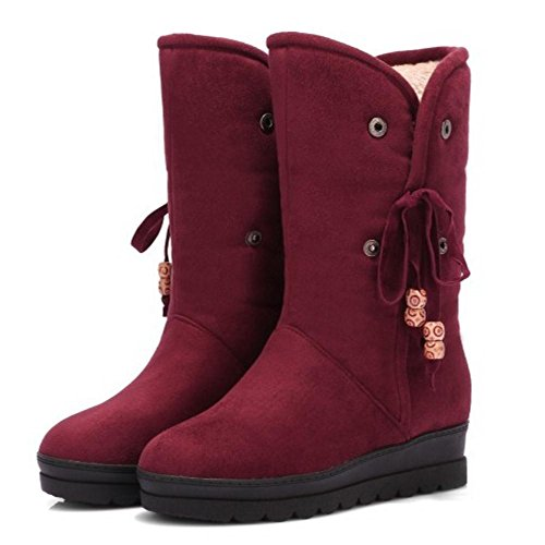 RAZAMAZA Women Boots Pull On Warm Lined Red lzGEprg