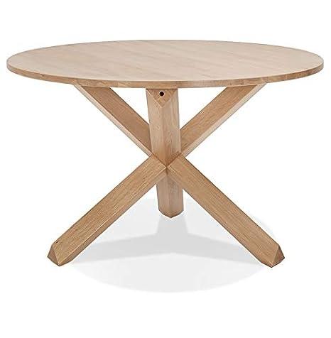 Table Ronde En Chene.Alterego Table Ronde En Chene Massif Faty Design Amazon