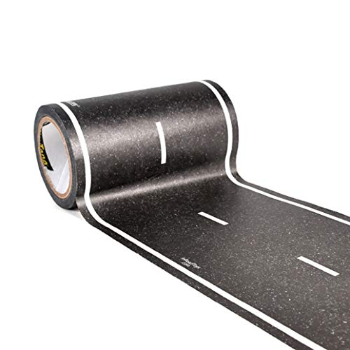 PlayTape Black Road 30x4 - Road Car Tape Great for Kids, Sticker Roll for Cars and Train Sets, Stick to Floors and Walls, Quick Cleanup, Children Toys and Birthday