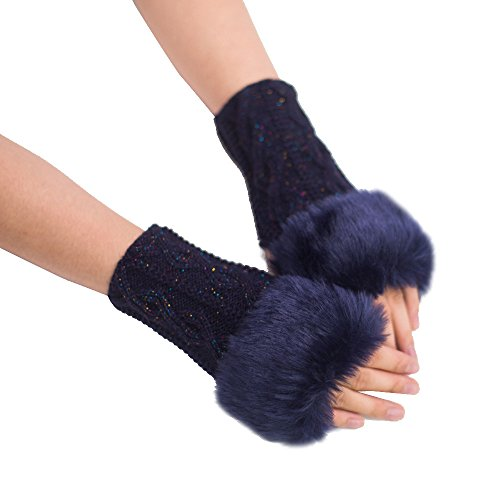 PASATO New Sale!Women Girl Warm Winter Faux Rabbit Fur Wrist Knitted Long Fingerless Soft Gloves Mittens For Women(Navy,Free Size)