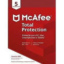 McAfee Total Protection 5 Antivírus – Programa premiado de proteção contra ameaças digitais, programas não desejados, multi dispositivo - 5 dispositivos - Cartão
