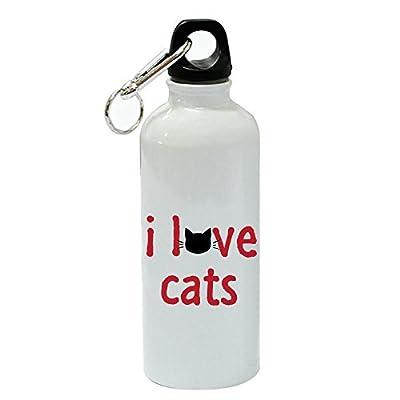 76DinahJordan I Love Cats Sports Bouteille d'eau Funny Blanc en aluminium Bouteille d'eau Bouteille de gym fantaisie pour femme, pour hommes, pour enfants, pour Mom