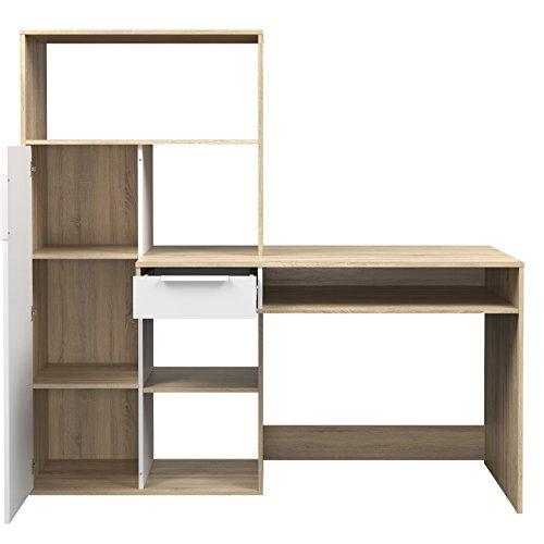 Tvilum 80173ak49 Weston 1 Drawer, 1 Door Desk White/Oak Structure
