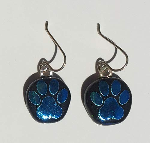 Aqua Blue Dog Paw Laser Engraved Etched Dichroic Fused Glass Earrings with Solid Sterling Silver Ear Wires