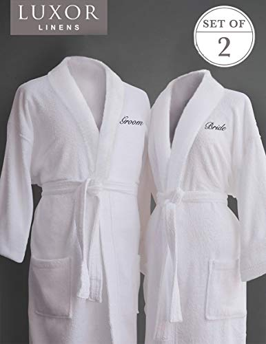 Luxor Linens Couple's Terry Cloth Bathrobe Egyptian Cotton Unisex One Size Fits Most Luxurious Soft Plush Elegant Script Embroider San Marco (Bride/Groom)