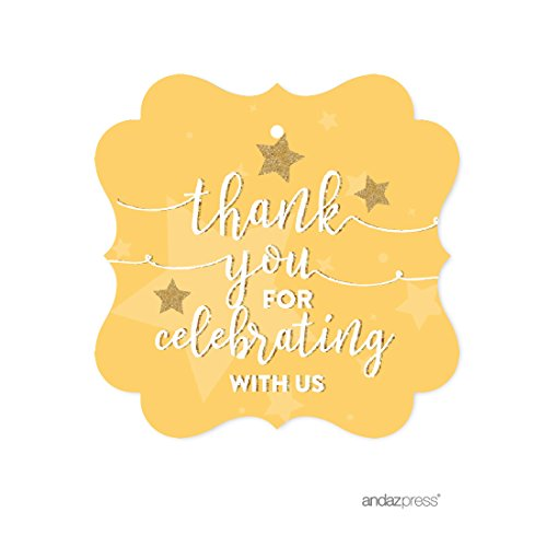 Andaz Press Twinkle Twinkle Little Star Yellow Baby Shower Collection, Fancy Frame Gift Tags, Thank You for Celebrating with US, 24-Pack
