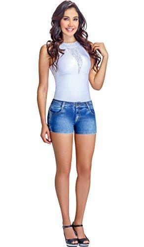 - Lowla Mid Rise Slim Fit Stretch Denim Shorts Pantalones Cortos de Mujer Blue 8