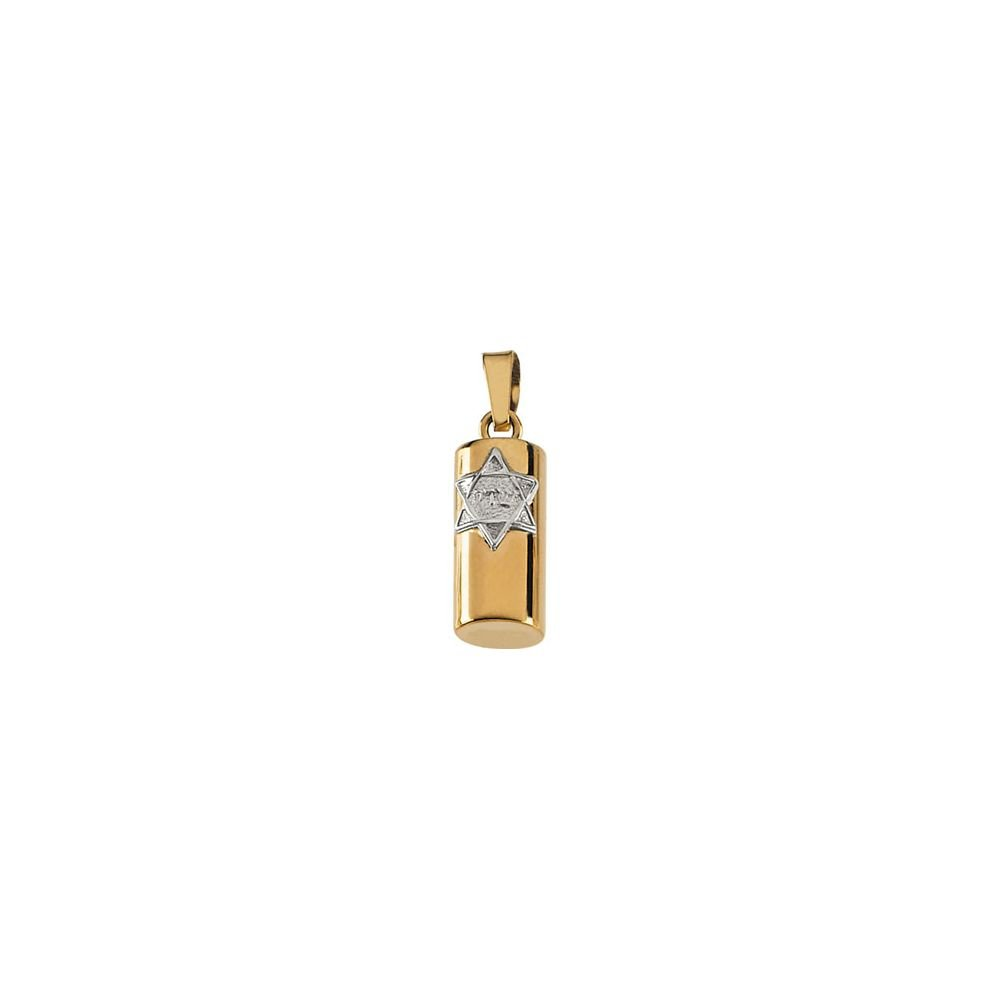 Jewels By Lux 14K Yellow and White Two Tone Gold 15x6mm Mezuzah Pendant