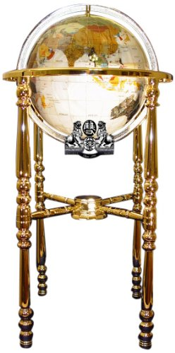 - Unique Art 37-Inch by 13-Inch Floor Standing Full Cut Mop Mother of Pearl Gemstone World Globe with Gold 4-Leg Stand