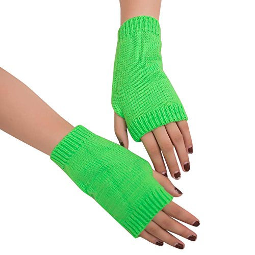 (Women Girl Knitted Arm Fingerless Soft Warm Winter Gloves Mitten (Mint Green))