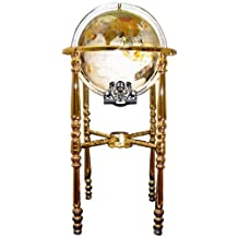 Unique Art 330-GBH-MOPFULL-GOLD 37-Inch by 13-Inch Floor Standing Full Cut Mop Mother of Pearl Gemstone World Globe with Gold 4-Leg Stand