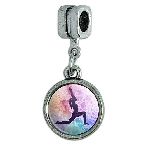 GRAPHICS MORE High Lunge Crescent Variation Yoga Pose Italian Bracelet Charm Bead