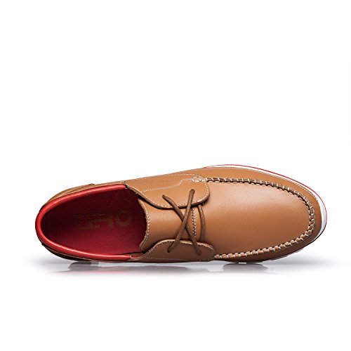 ZRO Men's Premium Genuine Leather Oxford Shoes Lace Up Casual LIGHT BROWN US 8.5 by ZRO (Image #3)