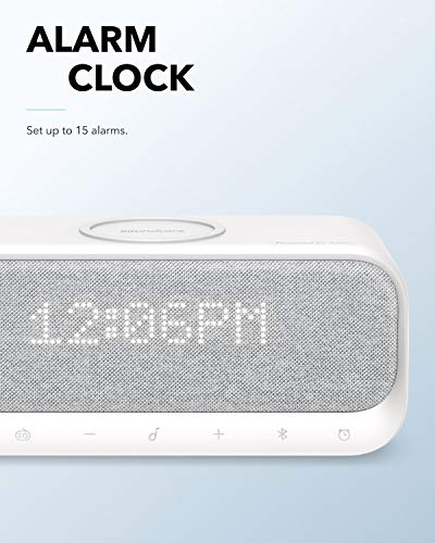 Soundcore Wakey Bluetooth Speakers Powered by Anker with Alarm Clock, Stereo Sound, FM Radio, White Noise, Qi Wireless Charger with 7.5W Charging for iPhone and 10W for Samsung