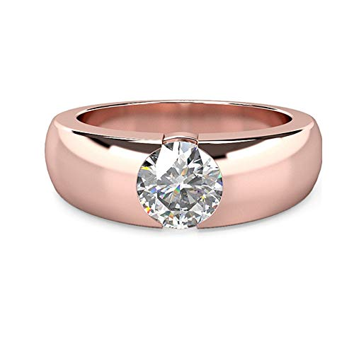 1.00Ct Round Cut Solitaire Moissanite 14K Rose Gold Wedding Engagement Ring...