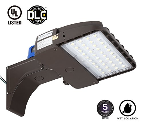 105W LED Shoebox Area Pole Light, Parking Lot Outdoor Street Lamp, 300W-350W MH/HPS Equivalent, 13,500Lm, 5000K Daylight, Photocell Included, DLC & UL-listed, Wet Location Applicable Campus Round Shoe