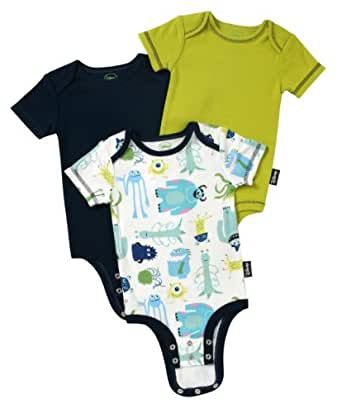 Disney Cuddly Bodysuit -  Fashion 3 Pack:  Disney / Pixar MONSTERS, INC. Character Toss , White/Navy/Green, 0-3 Months