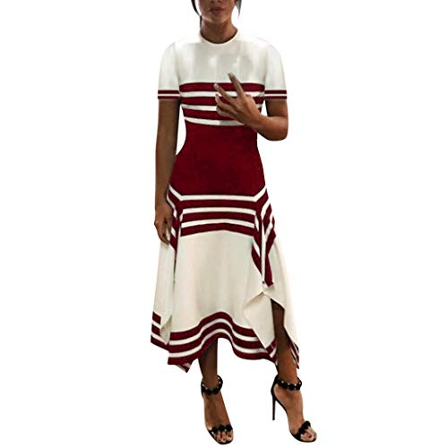 Women Stripe Sleeve Casual Dress Women Round Neck Vestido Midi Party Dresses