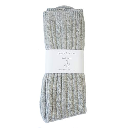 Cashmere Merino Blend Cable Knit Bed Socks for Women (Light Grey)