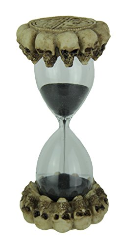 Resin And Glass Timers Gothic Celtic Skulls Hourglass Black