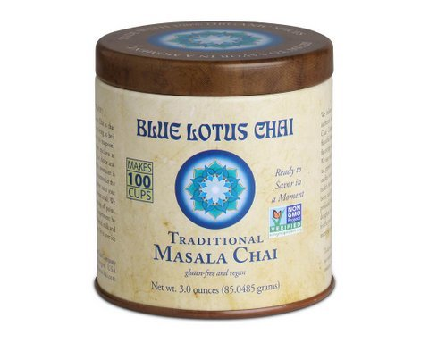 Masala Chai by Blue Lotus Chai - Gluten-Free and Vegan - Traditional Flavor - 3 Ounce Reusable Tin - Makes 100 Cups