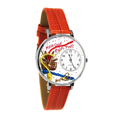 Whimsical Watches Unisex U0410003 Knitting Red Leather Watch ()