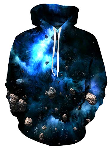 Mens Sweater 1970s (TUONROAD 70s Men's 3D Cool Graphic Hoodies Jacket Coat Trippy Navy Blue Galaxy Smoke Planet Stones Big and Tall Drawstring Hooded Pullover Sweatshirts for Adult Youth Campus Juniors School)
