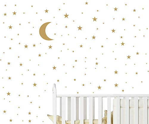JOYRESIDE Moon and Stars Wall Decal Vinyl Sticker for Kids Boy Girls Baby Room Decoration Good Night Nursery Wall Decor Home House Bedroom Design YMX16 (Matte Gold)
