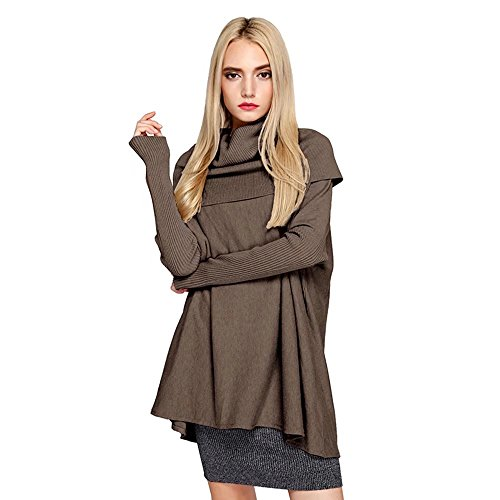 Cowl Turtleneck Sweater - SITENG Womens Turtleneck Fitted Long Sleeve Cowl Neck Oversized Loose Pullover Knit Top Sweater,Small,Brown