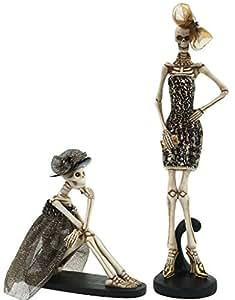 Halloween decor fashion esqueletos de pie y sentado figuras conjunto de 2