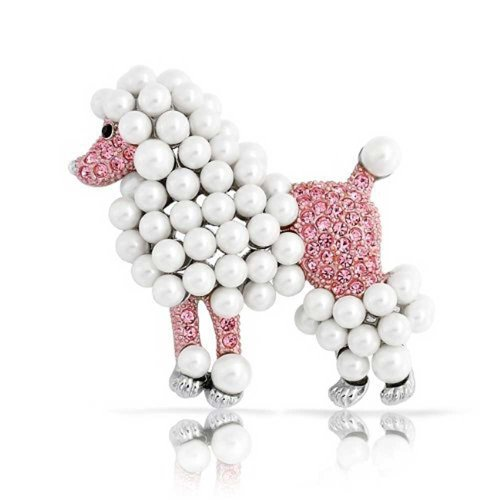 Bling Jewelry Fashion Statement Crystal White Simulated Pearl Pink Dog Poodle Brooch Pin for Women for Teen Rhodium Plated ()