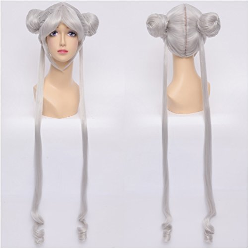 [Flovex Long Straight Ponytails Anime Cosplay Wig Sailor Moon Costume Party Hair (Silver White)] (Nice Sailor Costumes)