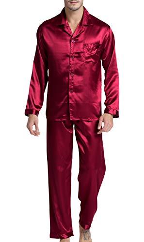 - Men's Satin Pajamas Long Button-Down Pj Set Sleepwear Loungewear (Wine Red, L)