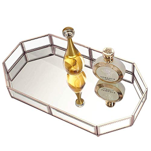 Hersoo Large Classic Vanity Tray/Ornate Decorative Perfume/Elegant Mirrorred Tray for Skincare/Dresser/Vintage Organizer for Bathroom/Countertop/Bathroom Accessories Organizer (Brass) ()