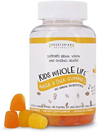 Vegetarian Naturals® Kids Whole Life™ Omega 3 DHA Vegan Vitamin Gummies Supplement, Gluten Free, 275mg Per Serving, 60 Count