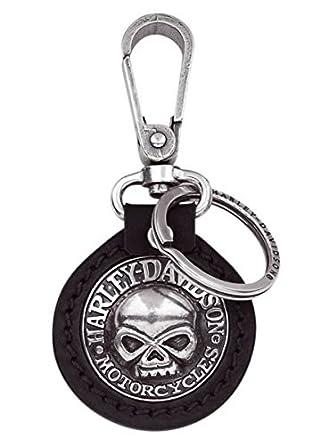 Llavero de Piel Placa Harley Davidson Willie G. Skull Regalo