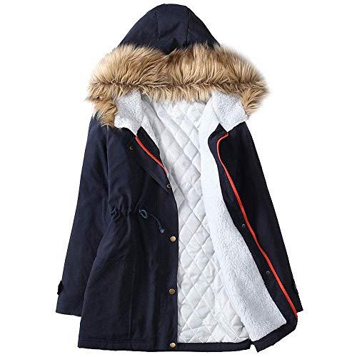 Donna colore Invernale Fuxitoggo A Cappuccio Maniche Nero Navy M Con Lunghe Da Dimensione Giacca qzwt5nrtH