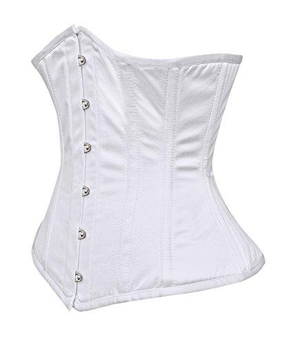 Invernaderos tamaño corset satén, color blanco, flexible, elegante diseño gótico 205 blanco